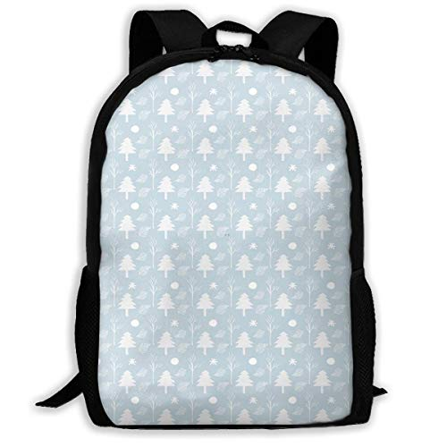 Christmas White Tree Unisex Adult Unique Rucksack,School Leisure Sports Book Bags,Durable Oxford Outdoor College Laptop Computer Shoulder Bags,Lightweight Travel Tagesrucksäcke