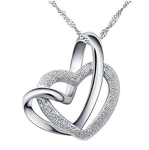 Jewelry-Sterling Silver 925 Necklace-Heart to Heart-Pendant Interlocking gifts for ladies