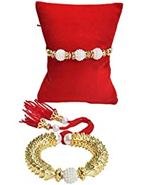Chandrika White Pearls Non-Precious Metal Gems and Jewellers Rakhi for Bhaiya Bhabhi for Men and Women - Pack of 2