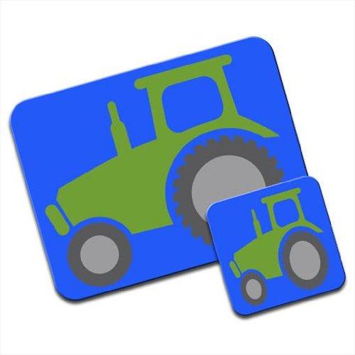 Tracteur Vert avec d'Énormes Roues Ensemble tapis de souris et dessous de verre
