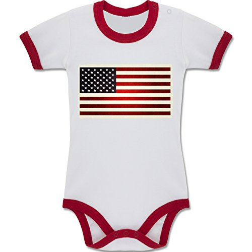by - Flagge USA - 6-12 Monate - Weiß/Rot - BZ19 - Zweifarbiger Baby Strampler für Jungen und Mädchen (Traditionelle Kleidung Von Amerika)