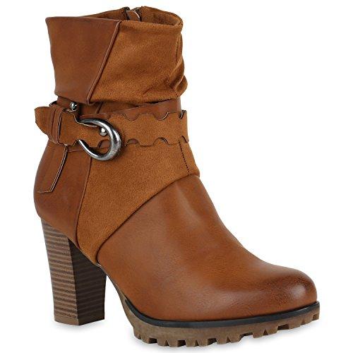 Stiefelparadies Damen Biker Boots Leicht Gefüttert Stiefeletten Leder-Optik Schuhe 150860 Hellbraun Nieten 36 Flandell
