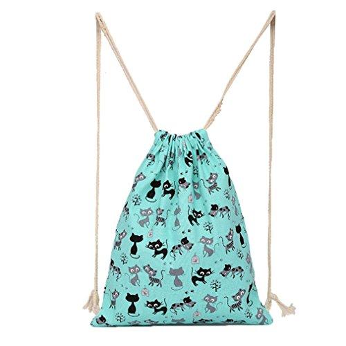 Machen Drawstring Handtasche (HARRYSTORE Unisex Nette Katze Gedruckte Leinwand Drawstring Hanging Sack Sport Strand Reise Outdoor Rucksack Tasche Tasche (Blau))