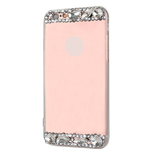 Spéculaire Coque Pour iPhone 6/6S, Asnlove Strass Bague de Serrage Support Cover TPU Miroir Housse Ultra Mince Cas Ring Stand Holder Étui Rhinestone Mode Case Pour iPhone 6/6S - Or Shell/Strass Rose B Rose Or Shell/Strass Rose Bague
