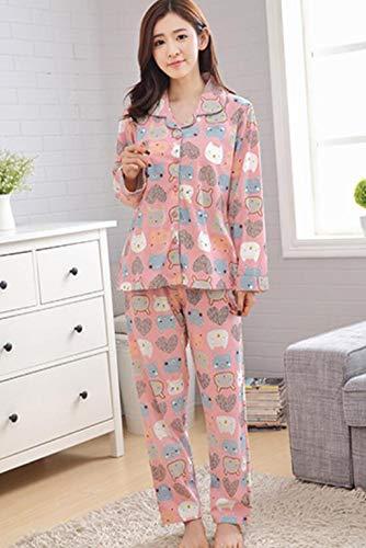 Marcus R Caveggf Frauen Pyjamas Set GroßE GrößE Langarm Loungewear Baumwolle T-Shirt Und Gedruckt Lange Hosen NachtwäSche Herbst Winter NachtwäSche, m /80-100 kg / -