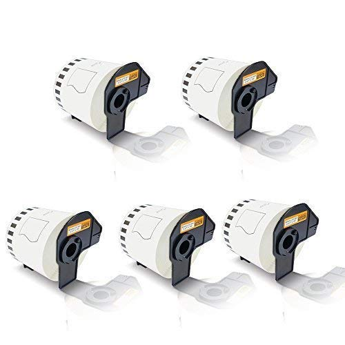 5x Kompatible Etiketten-Rolle für Brother P-Touch DK-44205 P-Touch QL 800 P-Touch QL 810 W P-Touch QL 820 NWB P-Touch QL800 P-Touch QL810W P-Touch QL820NWB Endlos Etiketten Drucker Plus Serie