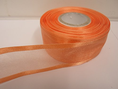 2m x 40mm ORGANZA mit Rändern aus Band dark peach doppelseitig Satin Edge 40mm (Peach Doppelseitiges Satin-band)