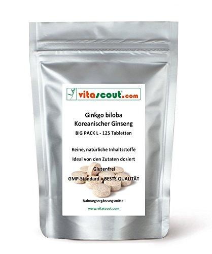 125 vegetarische Tabletten - Ginkgo biloba & Panax Koreanischer Ginseng - Formula-MIX EXTRAKT 4000mg - HOCHDOSIERT - PREMIUMQUALIÄT