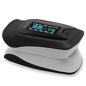 OX200 Oxímetro de pulso digital MeasuPro de lectura instantánea con estuche para llevar y cable CE, aprobado por la FDA