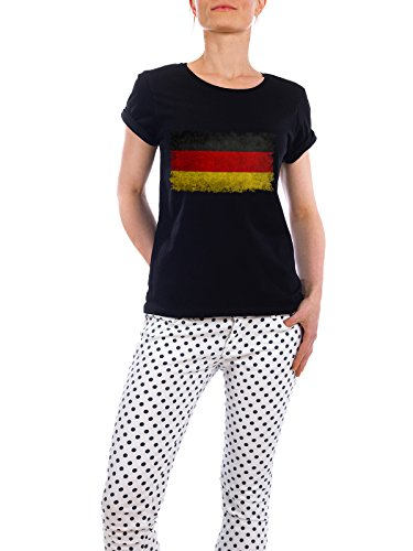 "Design T-Shirt Frauen Earth Positive ""Flag of Germany"" - stylisches Shirt Reise Sport / Fußball von Bruce Stanfield Schwarz"