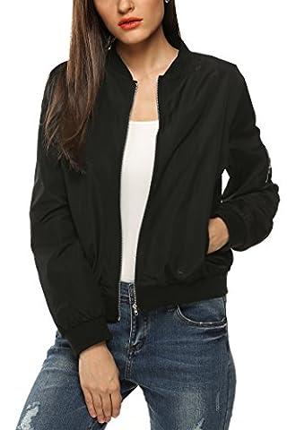 Zeagoo femme veste/blouson/ jacket bomber - zip -slim - 2015 mode automne hiver - noir/ army green - XL