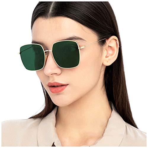 AVAWAY Polarisierte Sonnenbrille Damen Herren Metallrahmen UV400 Schutz Große Brille