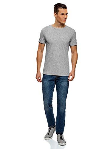 oodji Ultra Uomo T-Shirt Basic Grigio (2300N)