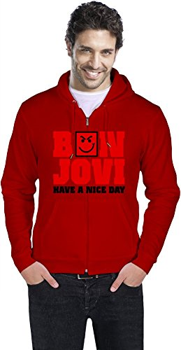 Bon Jovi - Have a Nice Day Mens Zipper Hoodie Large - Rot Vinyl Zipper