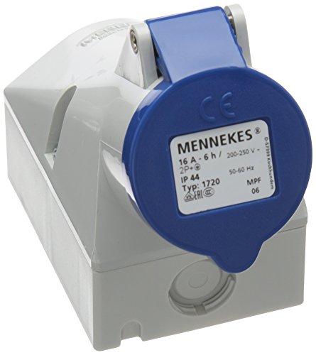 Mennekes (Unternehmen) 1720interne beheben Wand montiert Sockel mit Twin Kontakt, IP 44Schutz, 6Stunden Earth Position, 3pol, 16A, 230V, blau