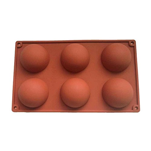Aiming 6 Tassen Halbkugel Form Silikon Backform Fondant Schokoladenform Kuchen Werkzeuge (Silikon-halbkugel Form)