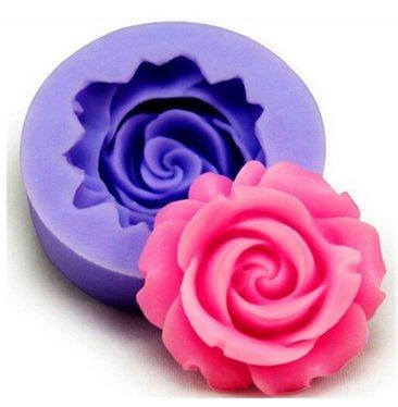 Jingyuu 3D Backform aus Silikon für Kuchen Backform Schokolade Cartoon Form Kekse Schneeflocke Silikon Fondant Kuchen Sugarcraft Backen Dekoration von Form – Rosa Blume