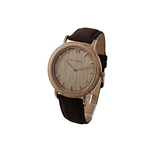 Holzkern Herren Analog Quarz Smart Watch Armbanduhr mit Leder Armband 0016
