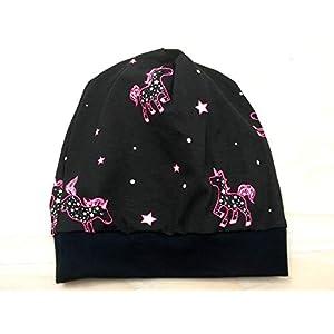 Beanie Mütze Einhörner, leuchten im Dunkeln, Kopfumfang 48-53cm