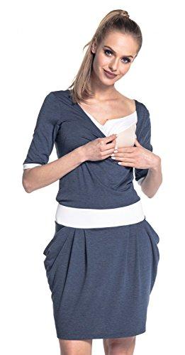 Happy Mama. Damen Midi Stillkleid Seitentaschen Lagendesign Halben Ärmeln. 698p (Jeans Melange, EU 40/42, XL)