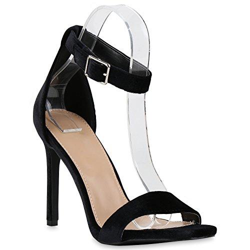 Hochzeit Party Damen Schwarz Brautschuhe High Heels Abschlussball Strass Velours Schnalle Metallic Glitze Schuhe Sandaletten w464Znxqg