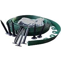 """DIY.PLUS.GARDEN 10 Metros: Bordes de césped de plástico Flexible con 30""""Super Fuerte (Clavijas de fijación de 15 cm de Largo, Incluidas) - Bordes de césped Flexibles, Bordes de plástico (10m - Verde)"""