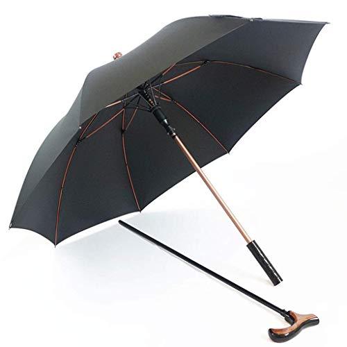 Einstellbar Cane (BJYG Einstellbare Alter Mann Spazierstock Regenschirm Langgriff Cane Geschenk Regenschirm Mehrzweck Anti-Rutsch-Kletterschirm Robuster Regenschirm (Farbe: Schwarz))