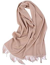 Prettystern - 100% cachemire monochrome unisexe en peluche douce 200cm écharpe d'hiver de longues écharpes frangées - sélection des couleurs