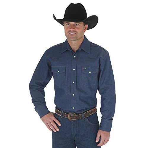 Denim Long Sleeve Work Shirt (Wrangler Men's Authentic Cowboy Cut Work Western Long-Sleeve Firm Finish Shirt, Rigid Indigo Denim, X-Large)