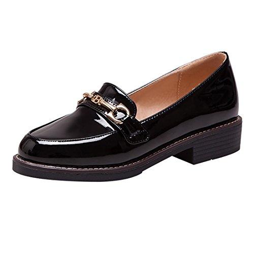 UH Damen Lack Halbschuhe Flache Slipper mit Kette Freizeit Bequeme Schuhe