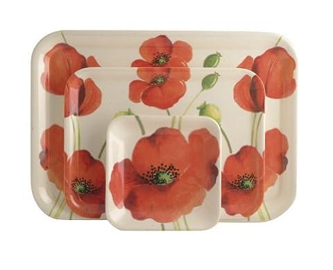 Rayware Alpine Poppy Melamine Trays, Set of 3