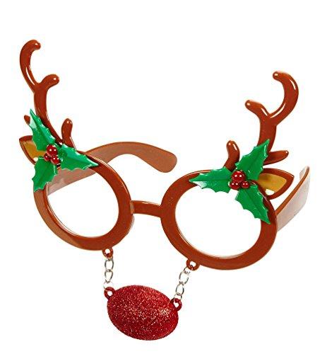 Karneval Klamotten Rentier Brille mit roter Nase Elch Brille Rudolf Rentier Weihnachtsbrille Zubehör Weihnachten Karneval