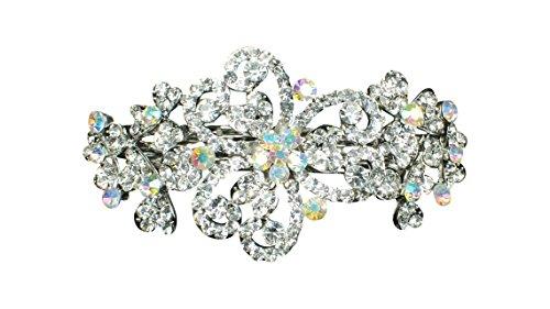 Unbekannt Große Kristall Strass Haarspange Hochzeit Braut Blume Haarclip 11 cm (HP007)