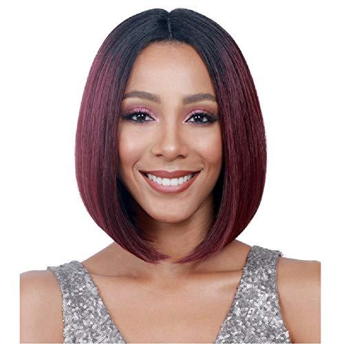 obo Kopf Reparatur Gesicht lange glatte Haare Seite stumpfe Fransen BOB Birne Blüte braun gold mit Haarnetz ()