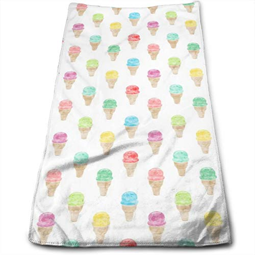 Kaixin J Watercolor Single Scoop Icecream - Multi_51797 Microfiber Bath Towels,Soft, Super Absorbent and Fast Drying, Antibacterial, Use for Sports, Travel, Fitness, Yoga 12 * 27.5 Inch - Soft Scoop Ice Cream