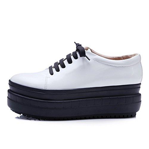 VogueZone009 Femme Pu Cuir à Talon Correct Rond Lacet Chaussures Légeres Blanc