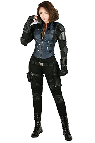Black Mädchen Kostüm Widow - Wellgift Black Widow Kostüm Cosplay Damen Scarlett Schlacht Outfit Erwachsene Deluxe PU Leder Anzug Suit Halloween Verkleiden Costume Kleidung Zubehör