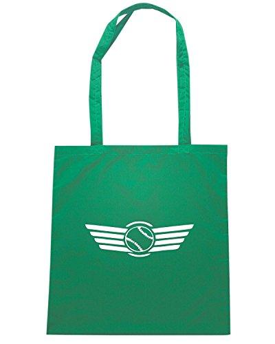 T-Shirtshock - Borsa Shopping SP0066 Flying Baseball Maglietta Verde