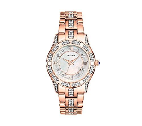 Bulova - Reloj de pulsera para mujer con cristales de nácar