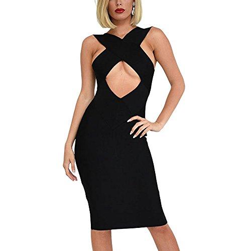 HLBandage Cross Neck Keyhole Rayon Women Bandage Dress Noir