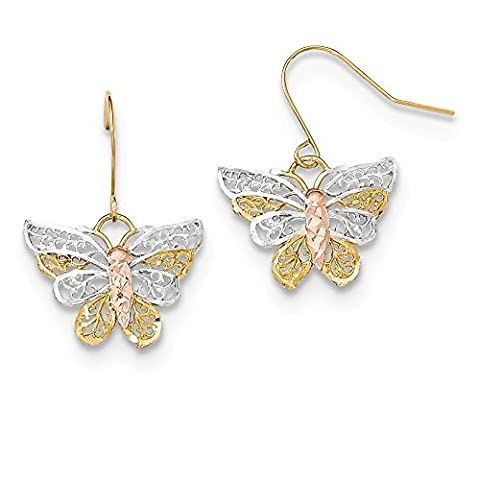 rhodium-plated-gold-and-silver 10k Two-tone Rhodium-plated D/C Filigree Butterfly Dangle Earrings