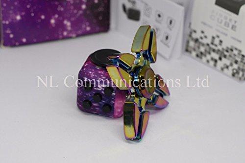 Preisvergleich Produktbild Neues Design zappeln Spinner + zappeln Cube Combo–(Quad Rainbow 4Claw Spinner + Galaxy/STARRY NIGHT zappeln Cube)–b-creative 2017Premium zappeln Spinner 1–3Minuten + Gratis Präsentation Zinn und Tragetasche, ~ ~ ~ Die tatsächliche UK Verkäufer ~ ~ ~ UK Schnell