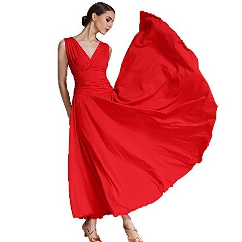Tanz Kostüm Ballsaal Plus Größe - QMKJ Frauen Classic Dance Rock Latin Dance Bauchtanz Kostüme Deep V-Neck rote Milch Faser Ballsaal Tanz Plus Größe XL 2XL Prom Dress,XL