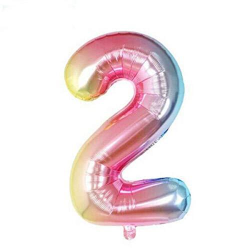 Polka Dot Sky 32 Zoll Riesiges Groß Regenbogen Nummer Luftballons, Bunt Folie Helium Digital Luftballons für Geburtstag Jubiläums Party Festival Einhorn Dekorationen 0-9 - Mehrfarbig, 32