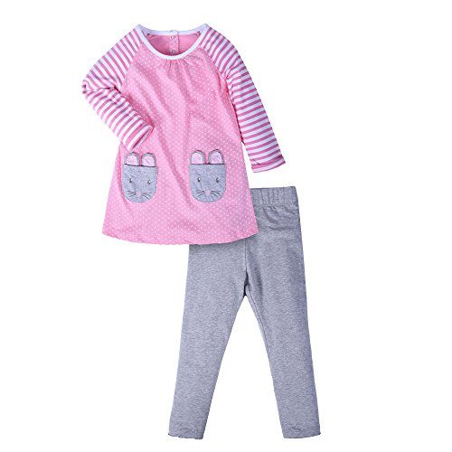 LangÄrmeliges T-shirt Set (Mooler Kleine Mädchen Rosa Cartoon Kaninchen Set Baumwolle Langärmelige T-Shirt Anzüge, Rosa , 3 Jahre)