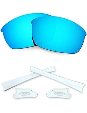 HKUCO Blue Polarized Replacement Lenses and White Earsocks Rubber Kit For Oakley Flak Jacket Sunglasses