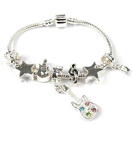 /Tween 'Rockstar' silber Sparkle Star/Gitarre/Musik Note Pandora Style Charm Armband. Ideal 13./16. Geburtstag Geschenk (weitere Größen erhältlich) (Tween-größe)