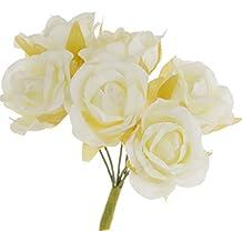 60x Artificial Plantas Flores Ramillete de Muñeca Diy Ramo Decoración Boda Novia - Marfil