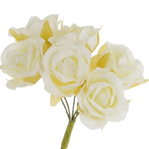 Bouquet 60 Pcs Rose Artificielle en Soie avec Poignet Corsage Pour Décoration Guirlande Maison/Voiture Mariage DIY - Ivoire, 10cm