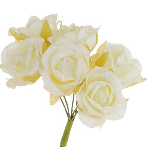 60x Kunstblumen Artificial Stieg Für Brautstrauß Handgelenk Corsage Blumen DIY Hochzeit - Elfenbein, 10cm (Corsage Diy Handgelenk)